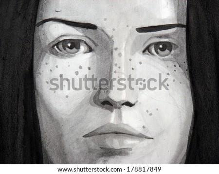 watercolor illustration of beautiful girl | handmade | self made | painting