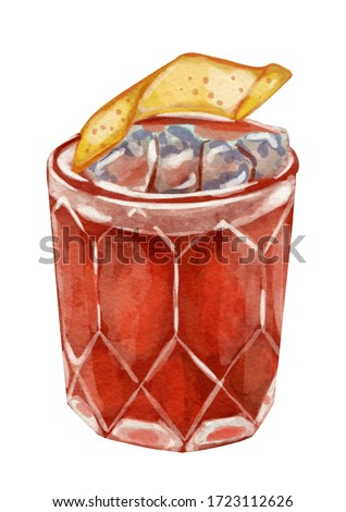 Watercolor illustration of beverages old fashioned cocktail bloody mary painting art drawing on white isolated background
