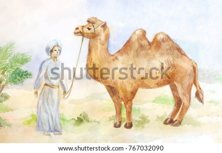 Watercolor illustration of camel and chasseur on desert background. Egypt hand drawn scene.