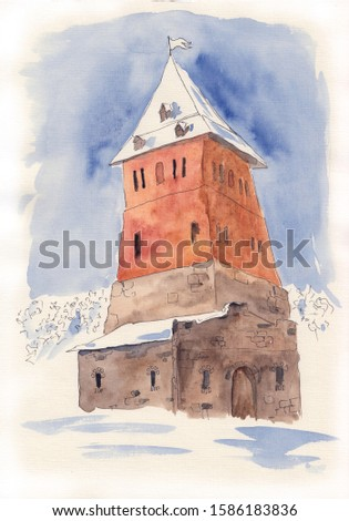 Watercolor illustration of castle in Sula, Belarus. Eastern European brick tower hand painted illustration on paper. Snowy winter in historical place. Medieval architecture sketch.