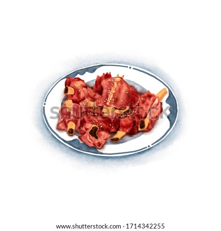 Watercolor Illustration of Chinese Cuisine - Sweet and Sour Pork Ribs | 糖醋小排 ストックフォト ©