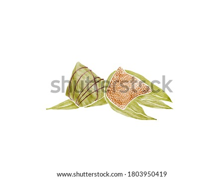Watercolor Illustration of Chinese Traditional Food Zongzi - rice dumplings served on The Duanwu Festival, also known as the Dragon Boat Festival   粽子 ストックフォト ©