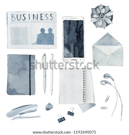 Watercolor illustration of desktop with flat lay objects and accessories, newspaper, smartphone, stapler, envelope, notepad, headphones, pencil, pen. High quality watercolour hand drawn illustration.