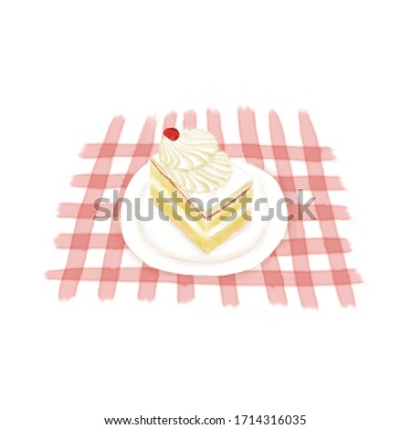 Watercolor Illustration of Dessert - Fresh MilK Small Cube Cake | 鲜奶小方 ストックフォト ©