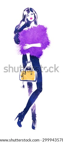 Watercolor illustration of fashion model with yellow bag.