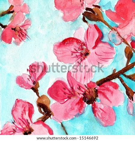 Watercolor illustration of floral background with cherry blossoms in pastell colors. Art is created and painted by photographer