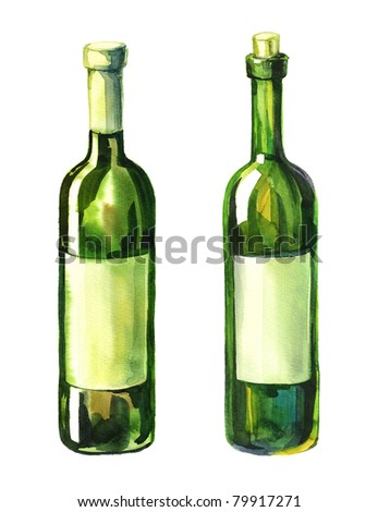 Watercolor illustration of 2 green wine bottle