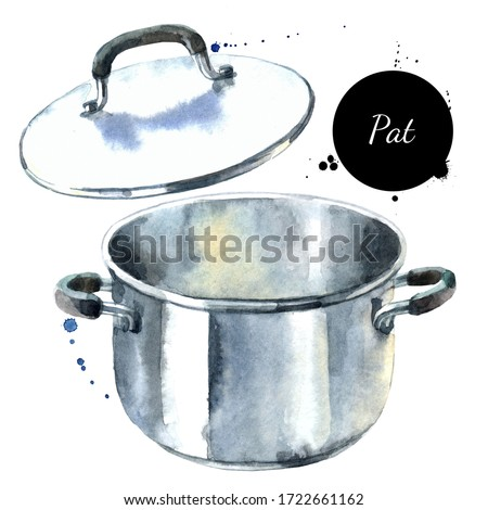 Watercolor illustration of kitchenware. Painted isolated metal pot on white background
