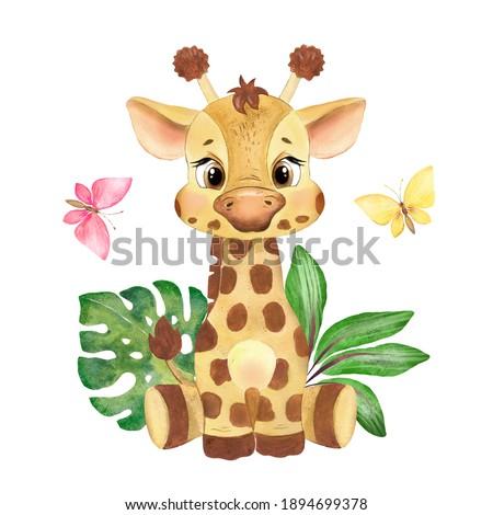 Watercolor illustration of little giraffe, safari animal, african animal, baby animal, nursery art, giraffe  Stock photo ©