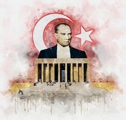Watercolor illustration of Mustafa Kemal Ataturk founder of the Turkish Republic behind Anitkabir Mausoleum with turkish flag on background