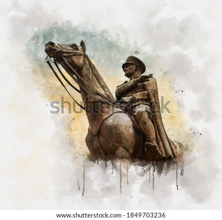 Watercolor illustration of nronze memorial statue of Mustafa Kemal Ataturk on his horse, the founder of the Republic of Turkey, over the sunset sky.
