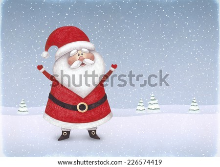 Watercolor illustration of Santa Claus. Perfect for Christmas greeting card  - Shutterstock ID 226574419