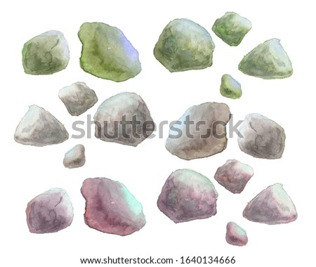 watercolor illustration of stones on a white background
