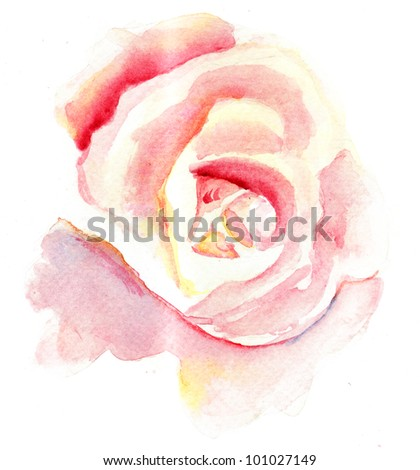 Watercolor illustration of Stylized rose flower