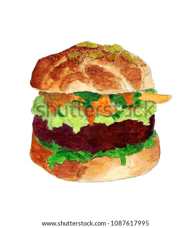 Watercolor illustration of vegan burger with carrot, salad, avocado and beet cutlet. Hand drawn picture. Isolated on white background.