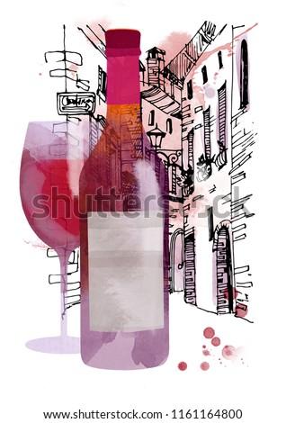Watercolor illustration of wine