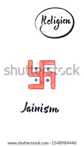 Watercolor illustration of world religions-Jainism