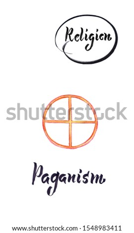 Watercolor illustration of world religions-Paganism