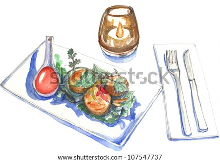 Watercolor illustration, restaurant table, scallop salad