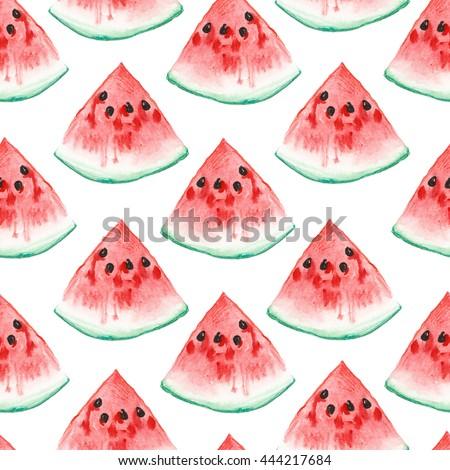watercolor illustration. seamless pattern of ripe watermelon - Shutterstock ID 444217684