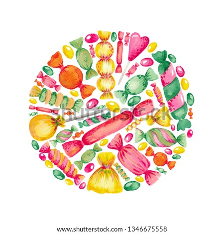 Watercolor illustration set of hand-painted chocolates Bright colored elements on white isolated background. #1346675558