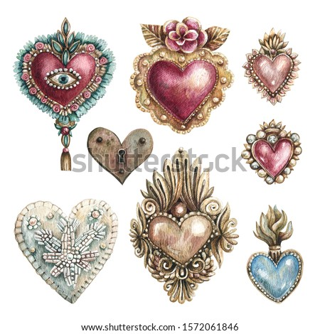 Watercolor illustration set of hearts in vintage style. Hearts with embroidery, precious stones, traditional Mexican hearts. Collection of hand-drawn hearts isolated on a white background. Сток-фото ©
