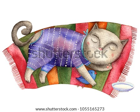 watercolor illustration sleeping cat