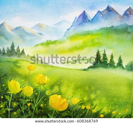 Watercolor illustration. Spring landscape.