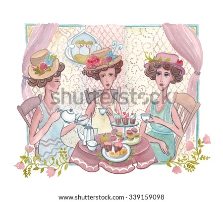 Watercolor illustration. Tea ceremony Franz, English style. Three women sitting at a table drinking tea. 5 o'clock. Traditional celebration. 20 years  Foto stock ©