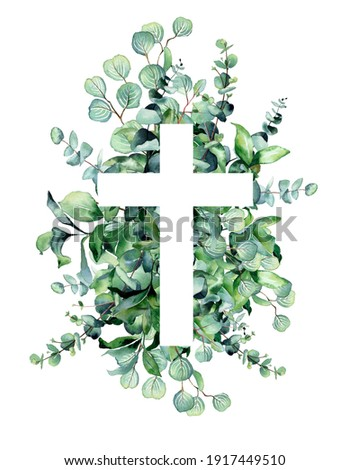 Watercolor illustration.  The Christianity cross  is white on a background of green leaves, eucalyptus.  Design for invitations, Easter, church, holiday, christian cards