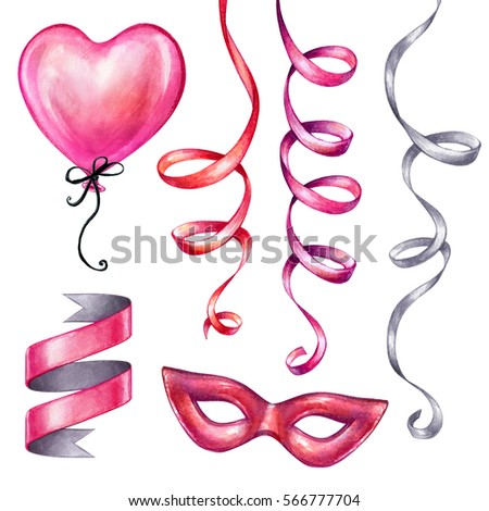 watercolor illustration, Valentine's day clip art,  set, birthday party objects, carnival design elements isolated on white background