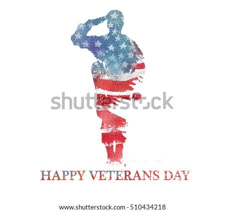 Watercolor illustration.Veterans day. America, USA flag. Text Happy Veterans Day. Сток-фото ©