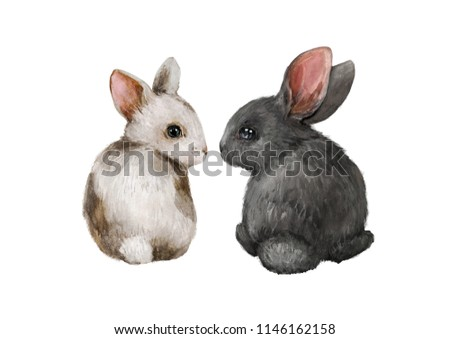 Watercolor illustration with a rabbits. Excellent for the design of postcards, posters, stickers and so on.
