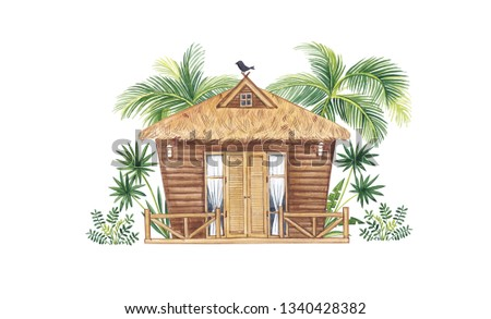 Watercolor illustration with beach house and palm trees.