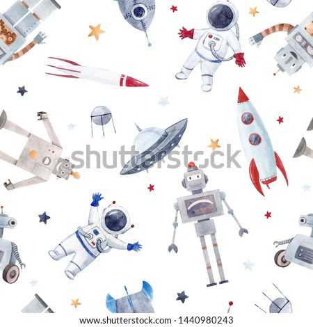 Watercolor illustration with cute robots, cosmonaut, flying saucer and rocket. Space wallpapers