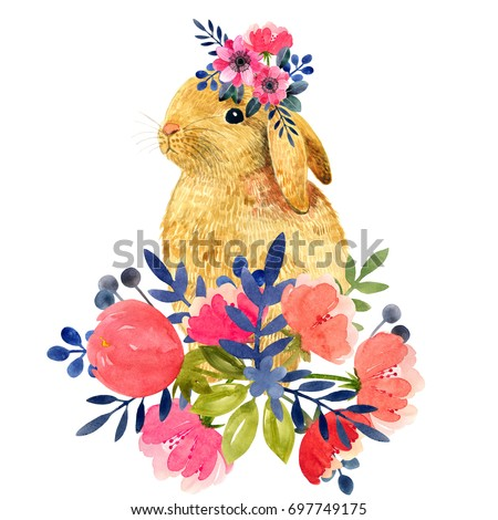 Watercolor illustration with little bunny and peony and leaves. Beautiful rabbit and flowers on a white background. Child illustration.