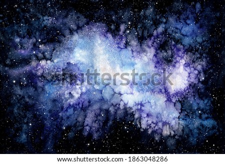 Watercolor Illustration with Outer Space, Blue Nebula, and Satrs Stok fotoğraf ©