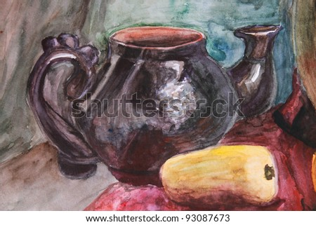 Watercolor illustration with teapot and yellow fruit