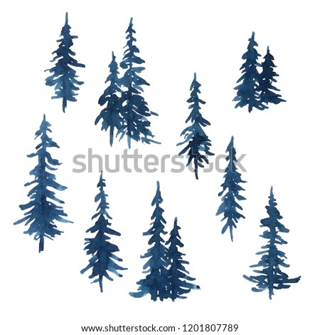 Watercolor indigo blue pine trees set for Christmas and New Year decoration