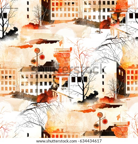Watercolor, ink, digital. City architectural sketch. Spring, trees, houses. Seamless pattern for textiles, fabrics, souvenirs, packaging and greeting cards.