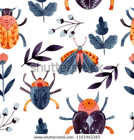 Watercolor insects seamless pattern