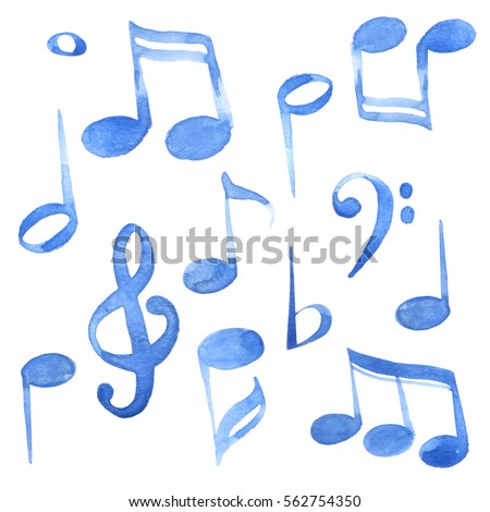 Watercolor isolated blue ink music notes and keys set
