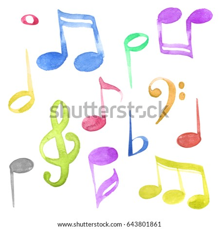 Watercolor isolated red, blue, yellow, violet, pink and green ink music notes and keys set
