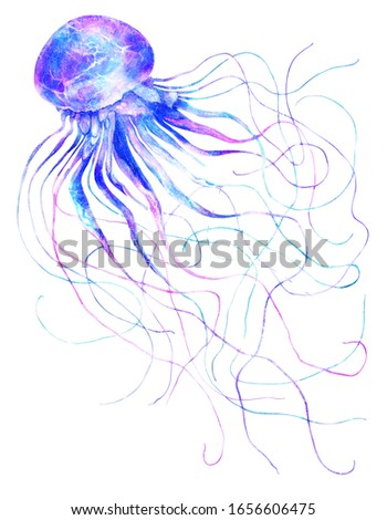 BLUE JELLYFISH ART PRINT POSTER Sea Animals Sealife Pop Bright Illustration