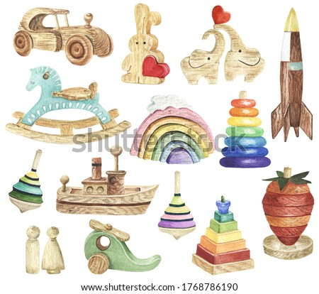 Watercolor Kids Toys Clipart. Wooden Toys Clipart. Baby Shower DIY. Nursery, Kids Room Decor. Eco-friendly materials Child Toys.