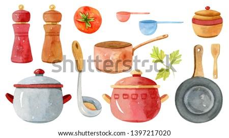Watercolor kitchen utensils (accessories, kitchenware) - saucepan, frying pan, salt, papper.