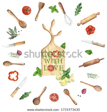 Watercolor Kitchen Utensils Clipart. Kitchen wood tools, food, herbs and spices. Cooking culinary clip art. Hand Painted Menu. Baking.