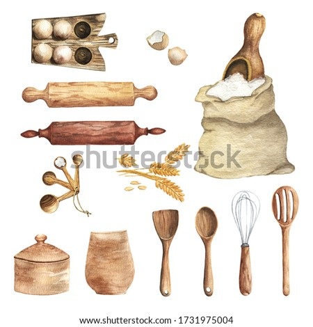 Watercolor Kitchen Utensils Clipart. Kitchen wood tools, food, herbs and spices. Cooking culinary clip art. Hand Painted. Baking.