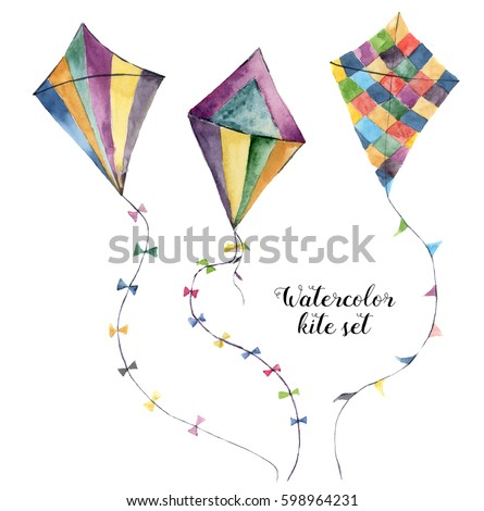 watercolor kite set with...