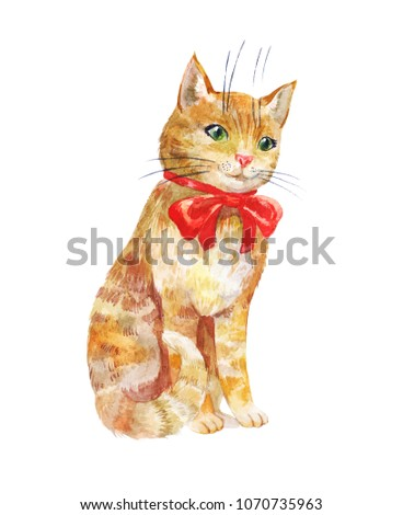 Watercolor kitten. Cute ginger cat with red bow isolated on white background